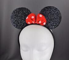 Black sparkle minnie mouse ears headband ear hair band costume mickey sparkly
