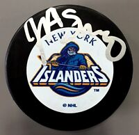 JOHN SPANO SIGNED NEW YORK ISLANDERS PUCK OWNER COA