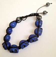 Shamballa BLUE SKULL HEMATITE Beaded Bracelet  Adjustable Punk Goth