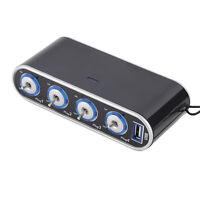 1* 4 Way Multi Socket Car Cigarette Lighter Splitter USB Plug Charger DC 12V/24V