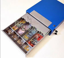Manual Lockable Steel 4-Compartment Cash Register Box Cash Drawer (#POS35) Blue