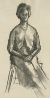 Mary Pierce - 20th Century Charcoal Drawing, Portrait of a Woman Sitting