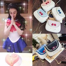 New Womens Girls Anime Sailor Moon Bowknot Wallet Handbag Purse Pu Shoulder Bags
