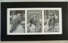 "Black Frame for (3) 5x7 Photos with White Mat 19-1/2 x 11-1/8"" Wood-look"