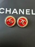 STAMPED RARE two 2 pieces Chanel button 21,5  mm 0,8 inch gold & red