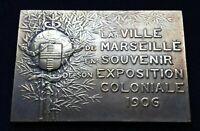 Plaque En Bronze ,souvenir Exposition Coloniale 1906 Marseille