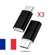 LOT DE 3 ADAPTATEURS MICRO USB FEMELLE VERS USB TYPE C MÂLE CHARGEUR DATA SYNC