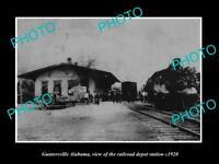 OLD LARGE HISTORIC PHOTO OF GUNTERSVILLE ALABAMA RAILROAD DEPOT STATION c1920