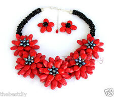 """18""""statement necklac red Turquoise  flower necklace Wedding Woman Jewelry"""