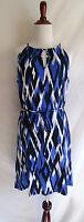 Banana Republic M Blue White Black Abstract Print Jersey Knit Shift Summer Dress