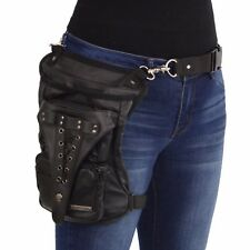 Milwaukee Leather Conceal & Carry Black Leather Thigh Bag w/ Waist Belt - MP8885