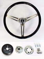 "70-77 Mustang Torino Maverick 15"" Black Wood Steering Wheel High Gloss Cobra Cap"