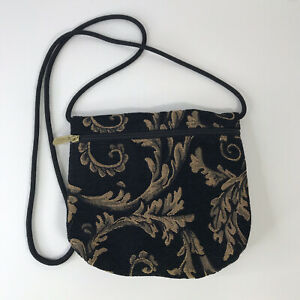 Danny K Beverly Hills Crossbody Handbag / Purse Tapestry Black/Gold 1w