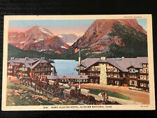 Vintage Linen Postcard Many Glacier Hotel Glacier NP Montana Unposted Sharp