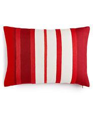 """Martha Stewart Rich Red Stripe Cotton 14"""" x 20"""" Decorative Pillow Bedding"""