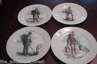 """4 French Salad Plates """"Les Metiers de Vieux Paris"""", c1920s,  7 1/2"""" diam[a5]"""