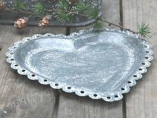 CHIC ANTIQUE, Tablett, Tray, Schale * HERZ * Zink, Grau, Shabby, Vintage, 25 cm,
