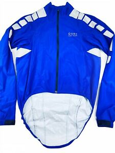 Gore Bike Wear Men's Small Windstopper Soft Shell Cycling Jacket Blue  Drop Tail