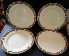 Losol blue rim vintage Art Deco antique set of four dinner plates