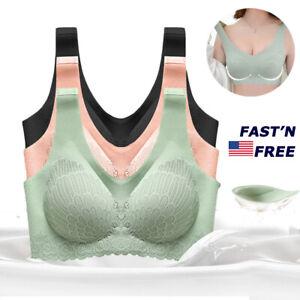 Women Seamless Push Up Bra Underwear Lace Thai  Latex Gym Yoga Bralette