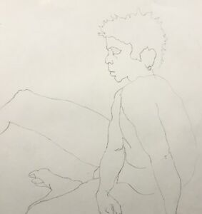 Vintage Original Life Drawing Nude Male Figure Pencil Sketch Signed 18x24