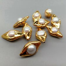 10 pcs Gold Plated Natural White Pearl Beads Olive Shape Charm Boho Jewelry DIY