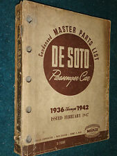 1936-1942 / De SOTO MASTER PARTS CATALOG ORIGINAL DESOTO BOOK 41 40 39 38 37 36