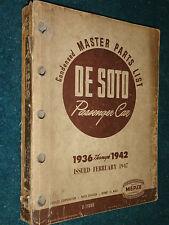 1936-1942 / De SOTO MASTER PARTS CATALOG ORIGINAL DESOTO BOOK 41 40 39 38 37 36