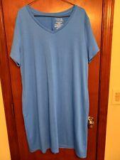 Time & Tru Women's Blue Short Sleeve T-shirt Dress w/Hip Pockets  Sz. XL (16-18)