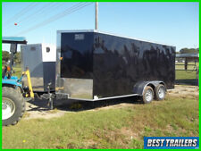 2020 7 x 16 enclosed cargo trailer black screwless sides Led deluxe build 7x16+2