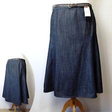 Calf Length Denim Patternless Casual Skirts for Women
