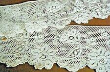 Old Valenciennes lace trim edging floral design remnants sewing costume