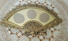 Vintage French Rococo Baroque Style Ornate Brass Fan Shape Picture Frame  17×10