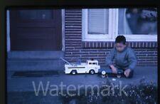 1963 Kodachrome Photo slide boy with Marx Big Bruiser Toy Pull truck