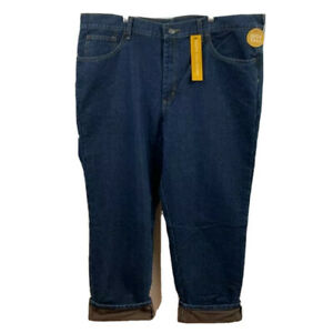 Lee Mens Classic Straight Jeans Blue Fleece Lined Denim Big & Tall 44x32 New