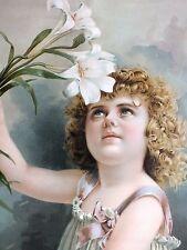 1900*Victorian*Easter Lily*Girl*Yardlong*Framed Chromolithograph*Original Print