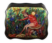 Beautiful Kholui Russian Lacquer Box BEETLE CATCHER #4169