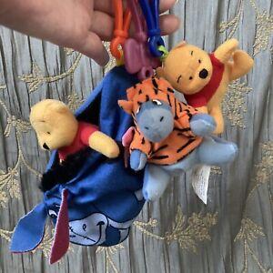 VTG 90s Book of Pooh Tigger Movie Eeyore Clip On Mini Plush McDs Toys Keychains