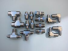 """Lowrider Hydraulics 3/8"""" fittings Kit for 2 pumps setup polished chrome New"""