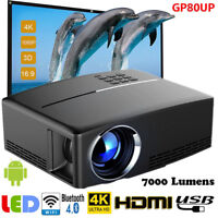 LED 7000LMS Smart Video Projector Android 6.0 WiFi Bluetooth Home Cinema 3000:1