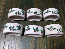 Set of 6 Holiday Christmas Ceramic Napkin Rings White with Holly