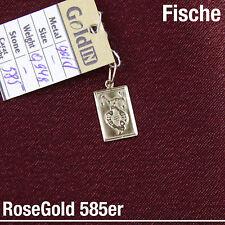 piscis peces ZODIAC Zodíaco COLGANTE DE SIGNOS DEL 585 14k Oro Rosa