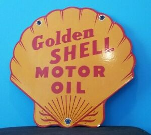 VINTAGE SHELL GASOLINE PORCELAIN GOLDEN MOTOR OIL SERVICE STATION PUMP SIGN