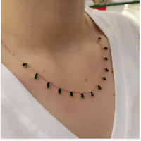 AAA QUALITY 925 STERLING SILVER HANDMADE JEWELRY 17 INCHES EMERALD NECKLACE