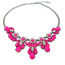 Stylish Crystal Flower Pendant Choker Chunky Statement Bib Chain Necklace Craft