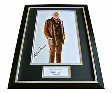 JOHN HURT SIGNED & FRAMED AUTOGRAPH 16x12 PHOTO DISPLAY DAY OF DOCTOR WHO & COA
