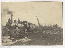 1900 LOGGING TRAIN MILLERSBURG MICHIGAN IMPERIAL CABINET PHOTO, NOTE RE: WRECK