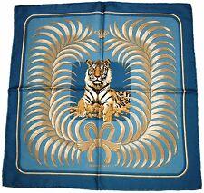 "AUTH HERMÈS 16.5"" 42cm Silk Pochette/Pocket Scarf TIGRE ROYAL Blues Golds White"