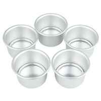 "5pcs 2"" DIY Aluminum Alloy Round Mini Cake Pan Removable Mold Baking Bake Tools"