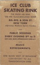 1940's/50's Advertising card - Ice Club Skating Rink, 8th Ave. & 50th St., N.Y.